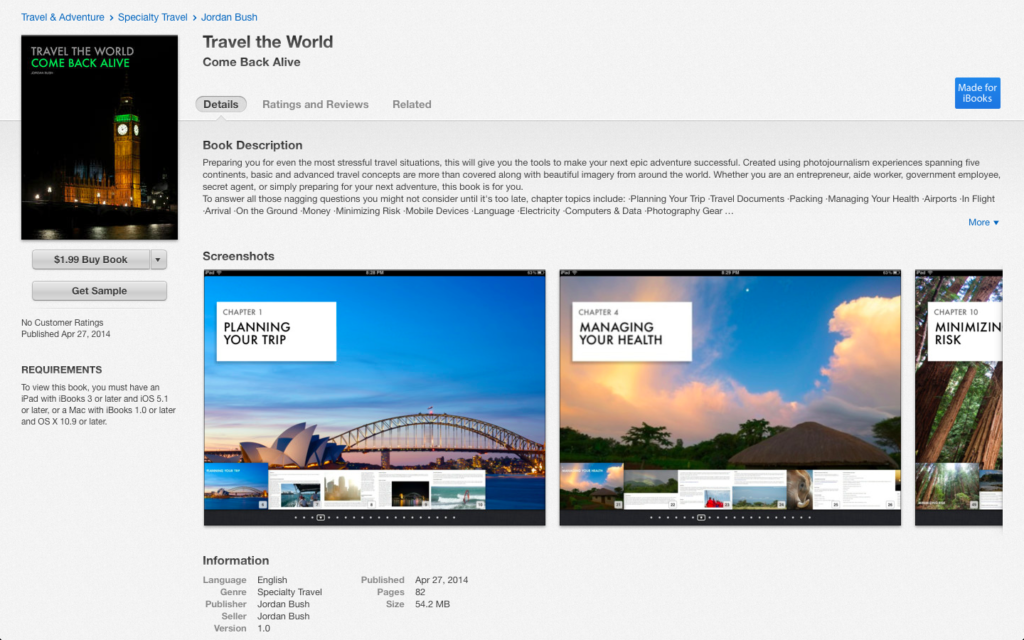 Travel the World Book in iTunes iBooks Jordan Bush